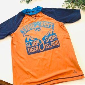 Lands End blue green boy swim shirt 10/12